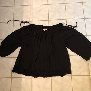 LOFT black cold shoulder top